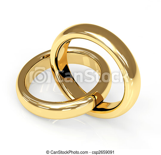 Two 3d gold wedding ring - csp2659091
