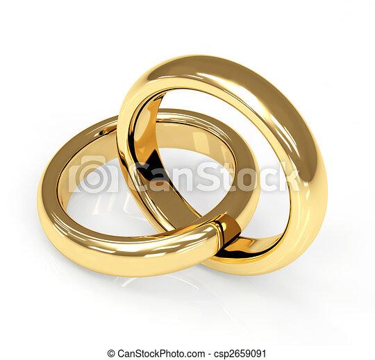 Two 3d gold wedding ring - csp2659091