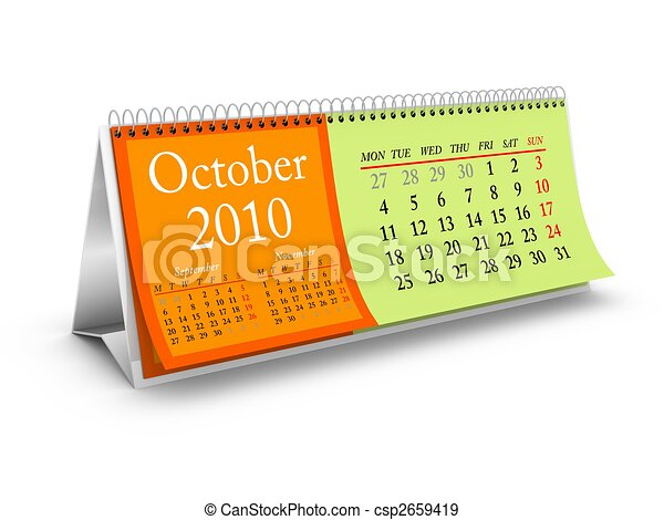 October 2010 Desktop Calendar - csp2659419
