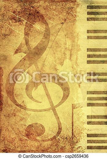 símbolos, musical, plano de fondo - csp2659436