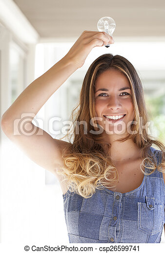 woman with a Light bulb on her head