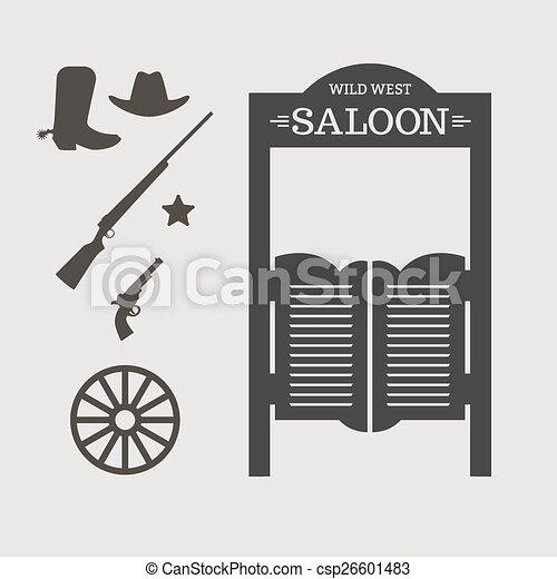Vector of Wild West - Western icons. Saloon door silhouette ...