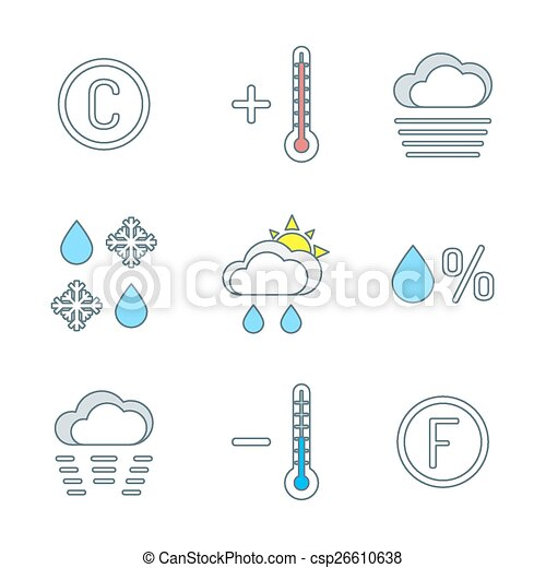 Weather Forecast Drawings Weather Forecast Icons Set