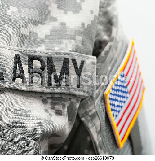 USA flag and U.S. Army patch on solder uniform