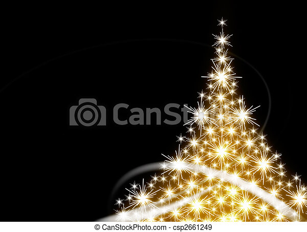 Golden Christmas tree - csp2661249