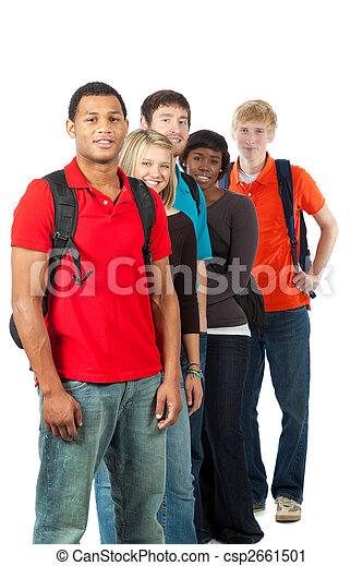 Group of multi-racial college students - csp2661501