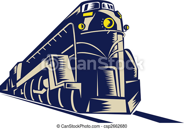 steam train locomotive coming towards the viewer done in retro woodcut style. - csp2662680