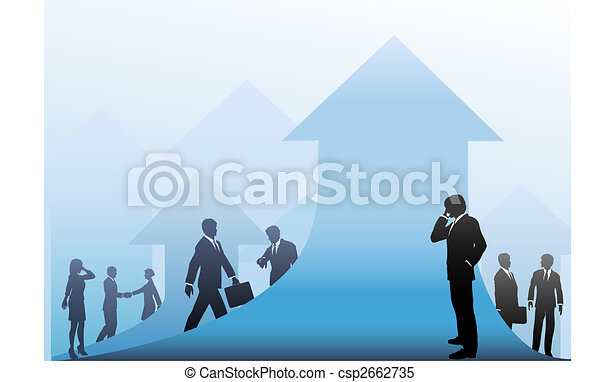 Business People Progress on Arrows Up Background - csp2662735