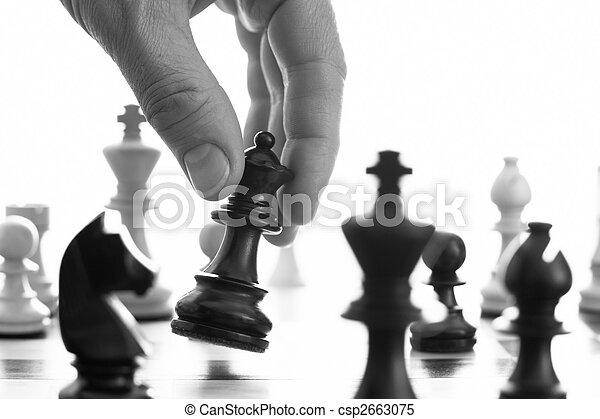 Chess game black queen advances  - csp2663075