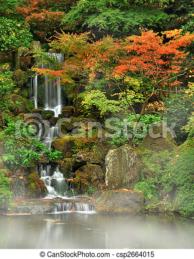 Autumn fog and waterfall - csp2664015