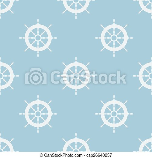 Seamless pattern with helm of ship. Vector illustration. Soft colors. - csp26640257