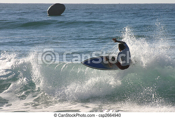 A surfer floats of the lip on a right hand wave. Newcastle Australia - csp2664940