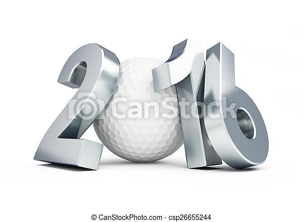golf ball 2016 on white background - csp26655244