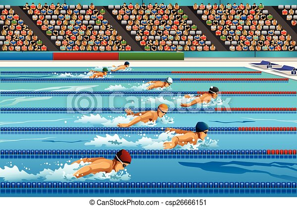 Clipart Vector Of Swimming Competition A Vector Illustration Of Swimmers Csp26666151