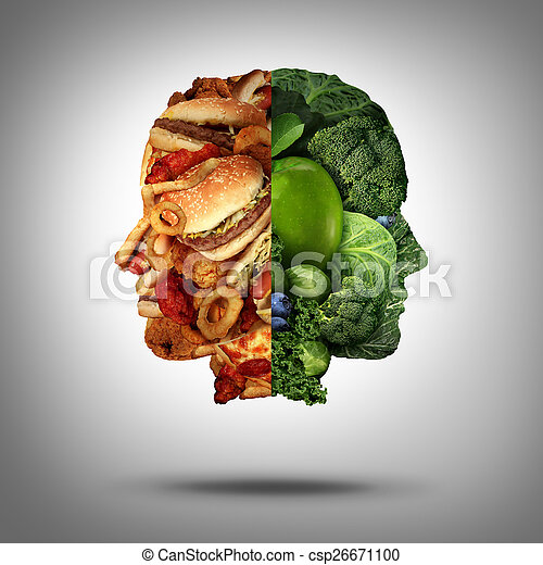 Food concept and diet decision symbol or nutrition choice dilemma between healthy good fresh fruit and vegetables or greasy cholesterol rich fast food as a human head with two conflicting sides trying to decide what to eat.