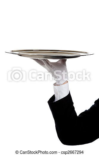 A butler's gloved hand holding a silver tray - csp2667294