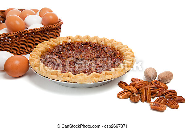 Pecan pie with ingredients on a white background - csp2667371