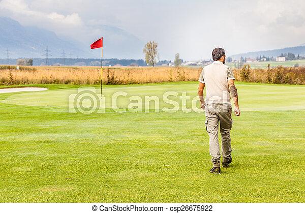 Red flag golf hole