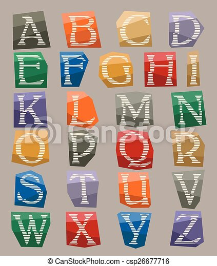 alphabet set cut out on color paper - csp26677716