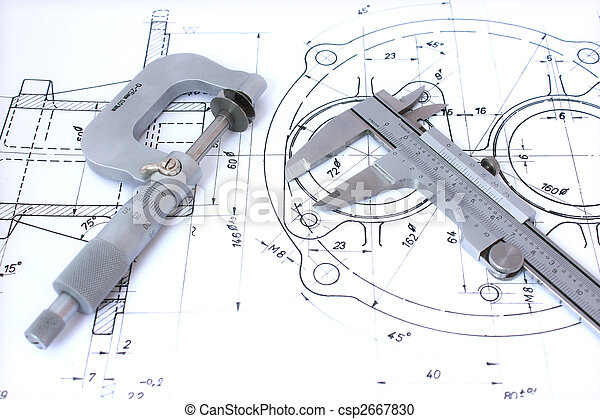 Micrometer and caliper on blueprint horizontal. - csp2667830