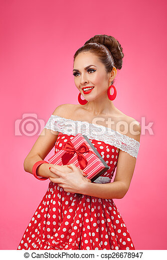 Happy Woman Holding Gift Box. Pin-up retro style.