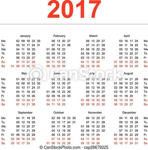 無料 無料カレンダ : 2017, カレンダー, テンプレート ...
