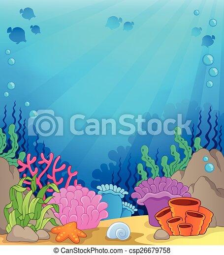 Clipart Vector of Ocean underwater theme background 4 ...