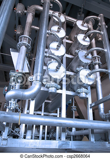 Metal industrial background with pipes - csp2668064