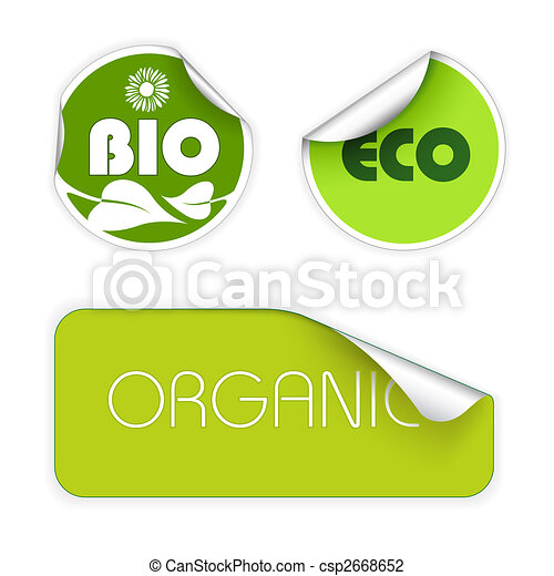 Set of labels for organic food - csp2668652