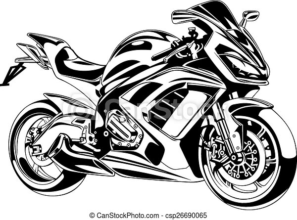 Clip Art Vector of my original motorbike design on the white ...