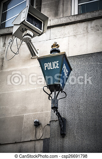 Police sign and surveillance camera