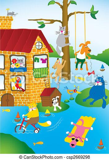 Stock De Ilustraciones De Inundaci 243 N Caricatura Paisaje