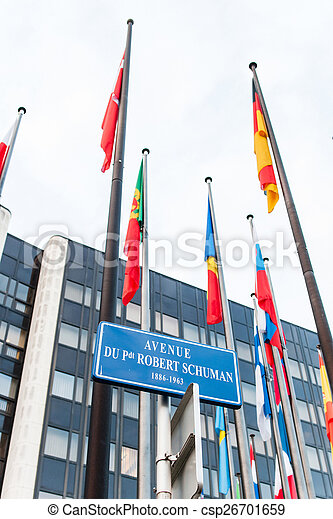 Exterior of Council of Europe with all European Union Member Fla