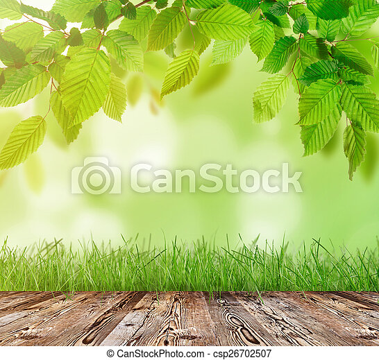 Wooden table with green grass