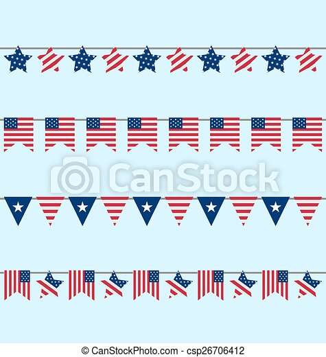 Vector clip art de banderitas conjunto norteamericano 4 for Decoracion estados unidos