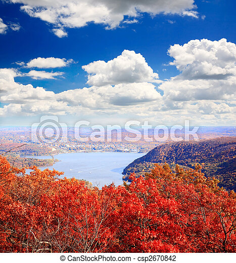 The foliage scenery from the top of Bear Mountain - csp2670842