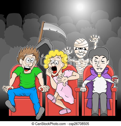 Vector Clipart Of Couple Is Watching A Horror Movie Movie In A Cinema - Vector... Csp26708505 ...