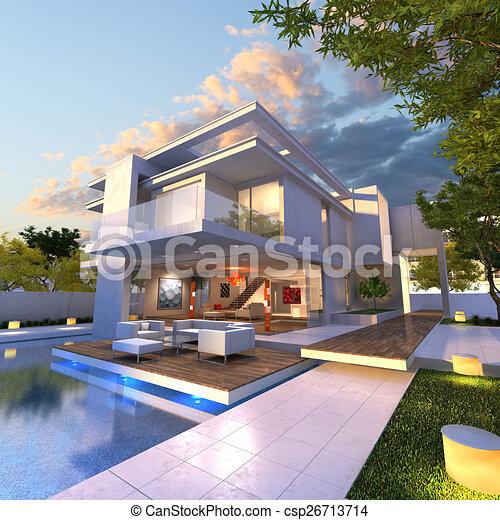 Villa landhaus modern  Clipart von villa, modern - 3D, übertragung, von, Impressive ...