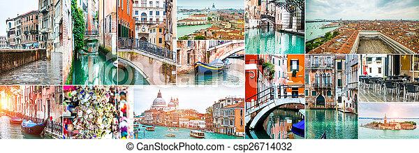拼貼藝術, 相片, 威尼斯 - csp26714032