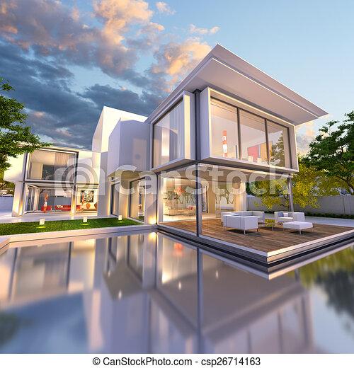 Stock illustration of dream house front 3d rendering of for Modern house clipart