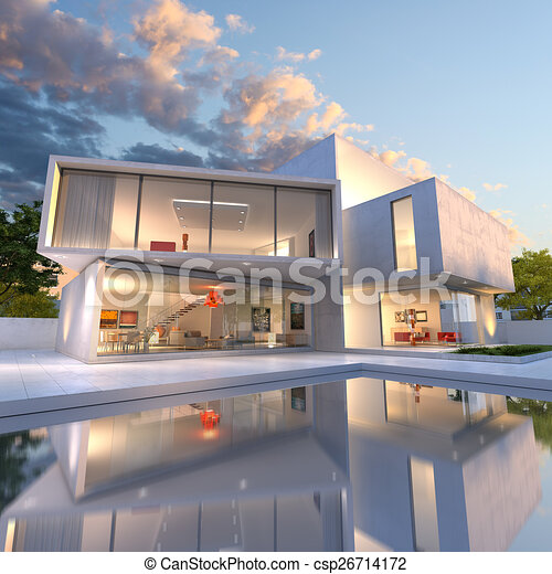 Stock illustrations of house cube deconstruction 3d for Modern house clipart