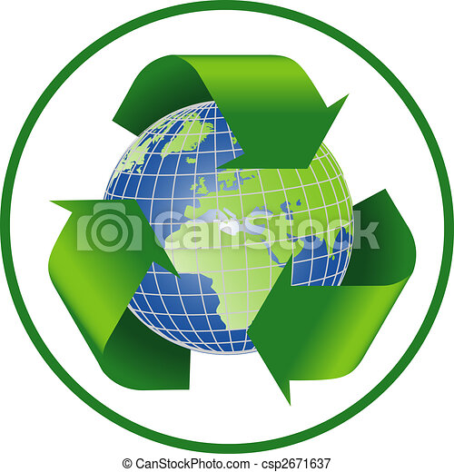 recycle symbol with planet earth - csp2671637