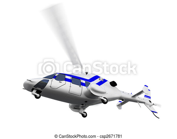 helicopter over white - csp2671781