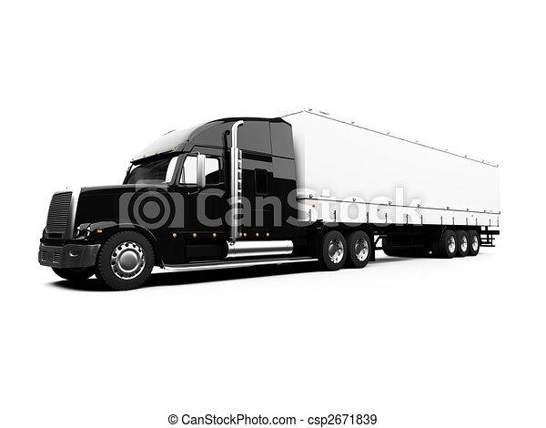Black semi truck on white background - csp2671839
