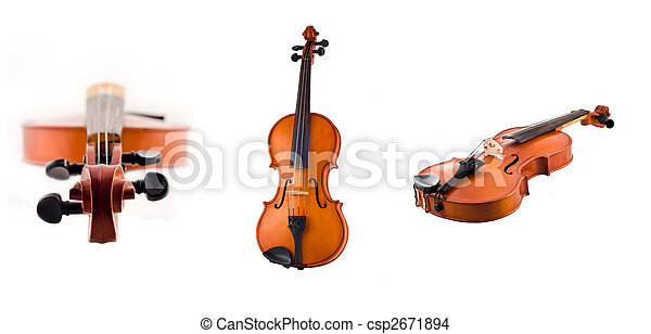 Collage of Antique violin views isolated - csp2671894