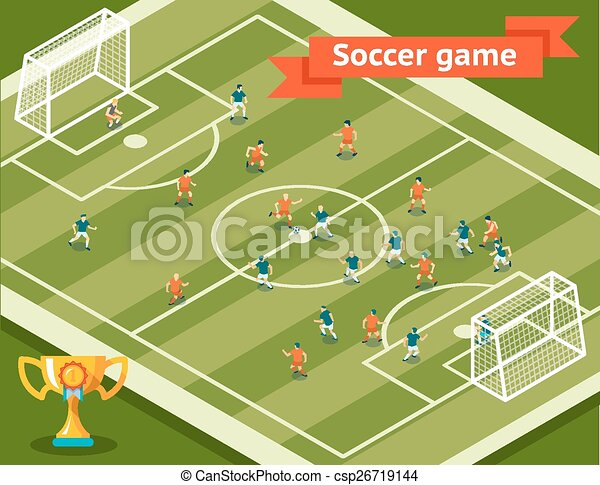 EPS Vector Of Soccer Game. Football Field And Players. Competition And... Csp26719144 - Search ...