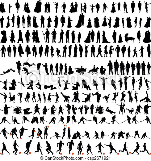bigest collection of people silhouettes - csp2671921