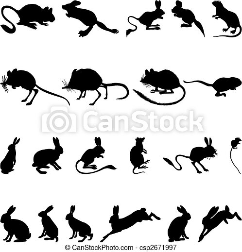 rodents silhouettes - csp2671997