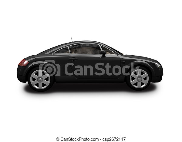 isolated black sport car side view - csp2672117