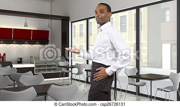 Male waiter in a coffee shop